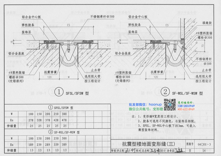 大缝宽的抗震型楼地面变形缝SF-WFL