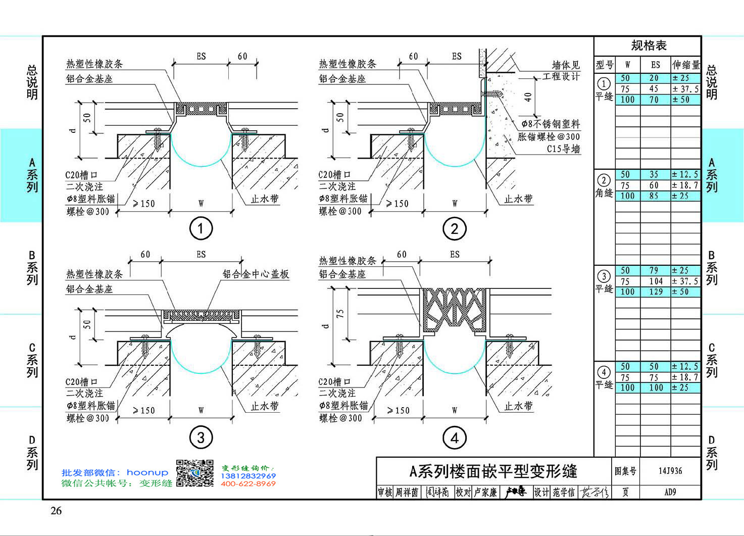 变形缝图集14J936AD9