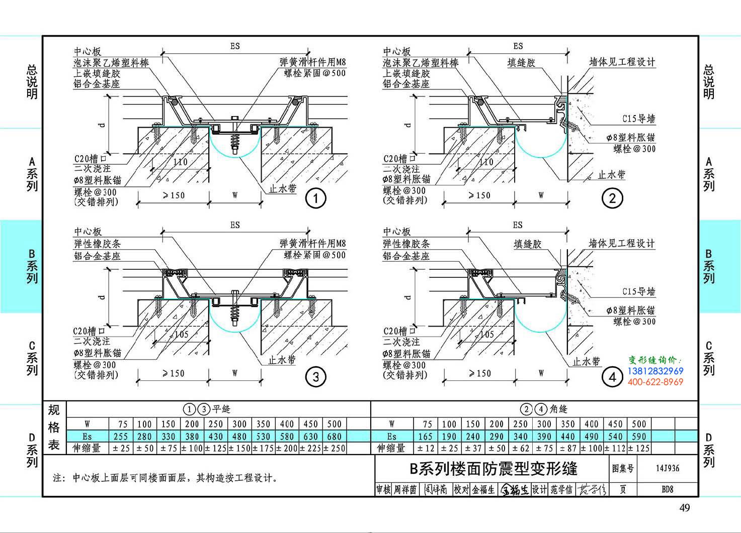 图集14J936BD7-B系列楼面防震型变形缝
