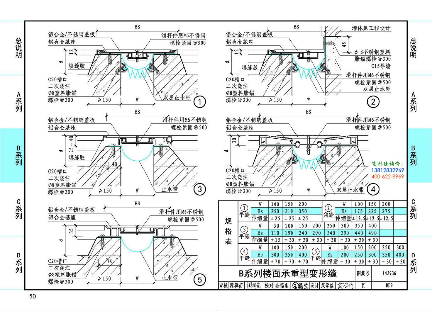 图集14J936BD9-B系列楼面承重型变形缝