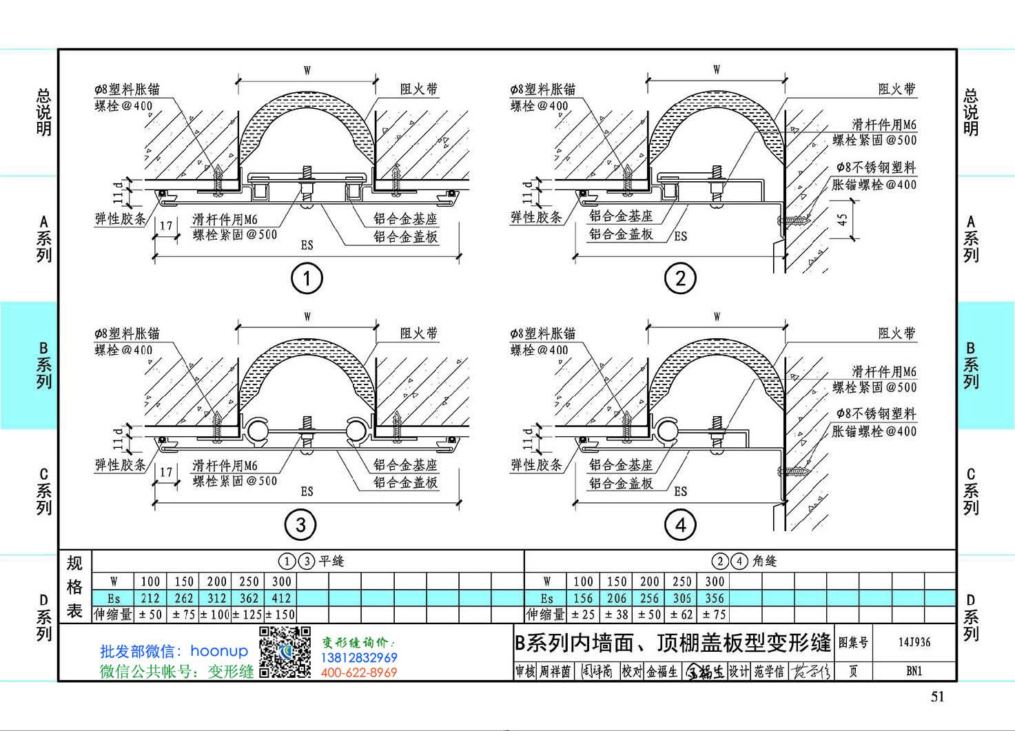 图集14J936BN1-B系列内墙面、顶棚盖板型变形缝