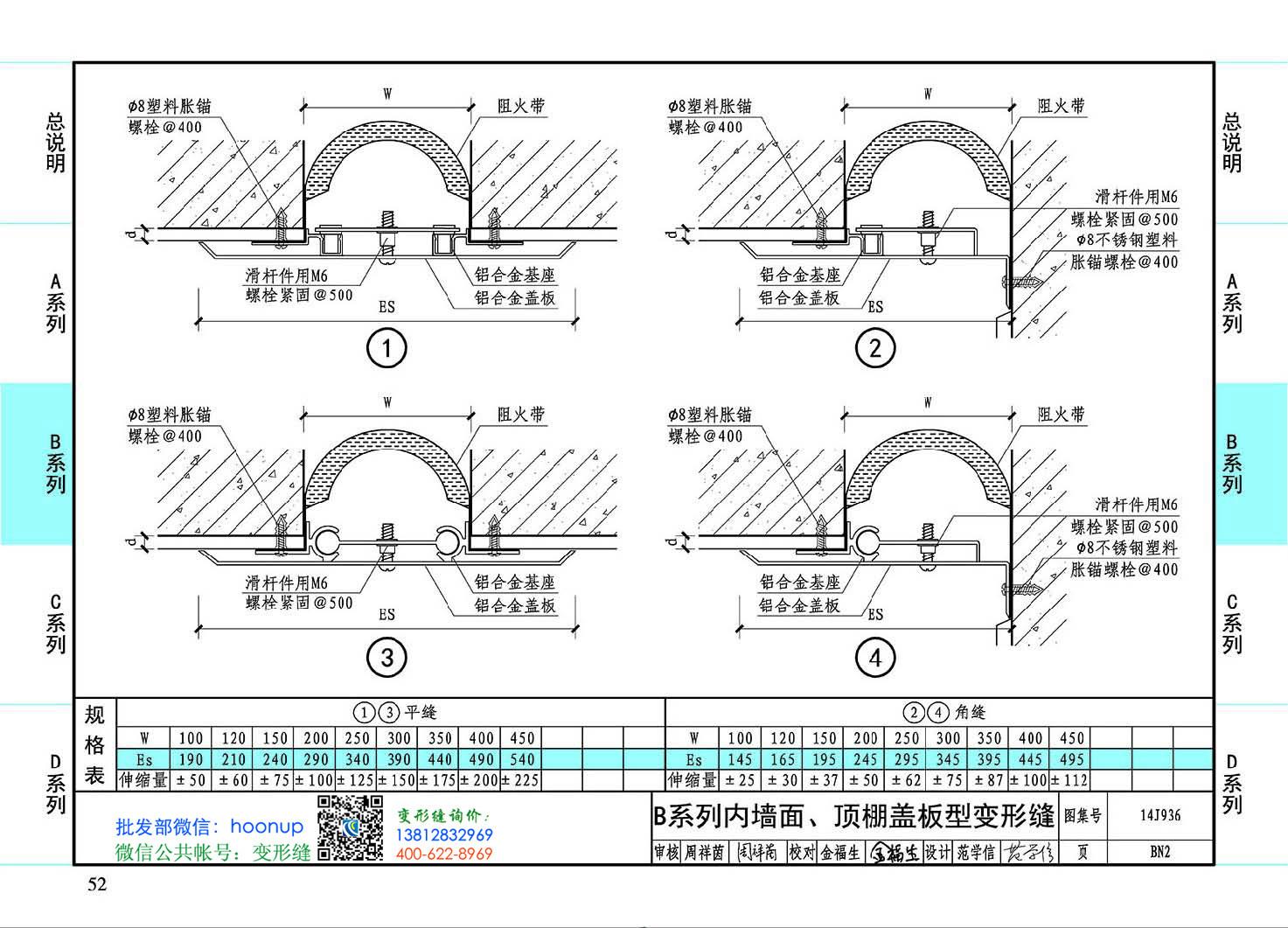 图集14J936BN2-B系列内墙面、顶棚盖板型变形缝