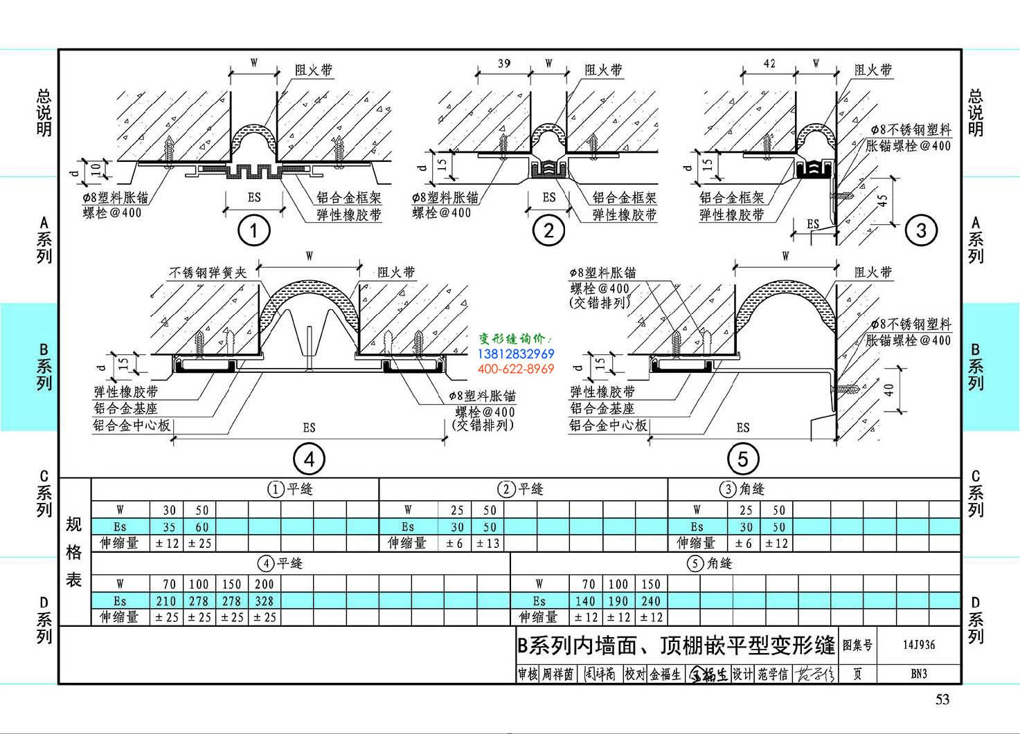 图集14J936BN3-B系列内墙面、顶棚嵌平型变形缝