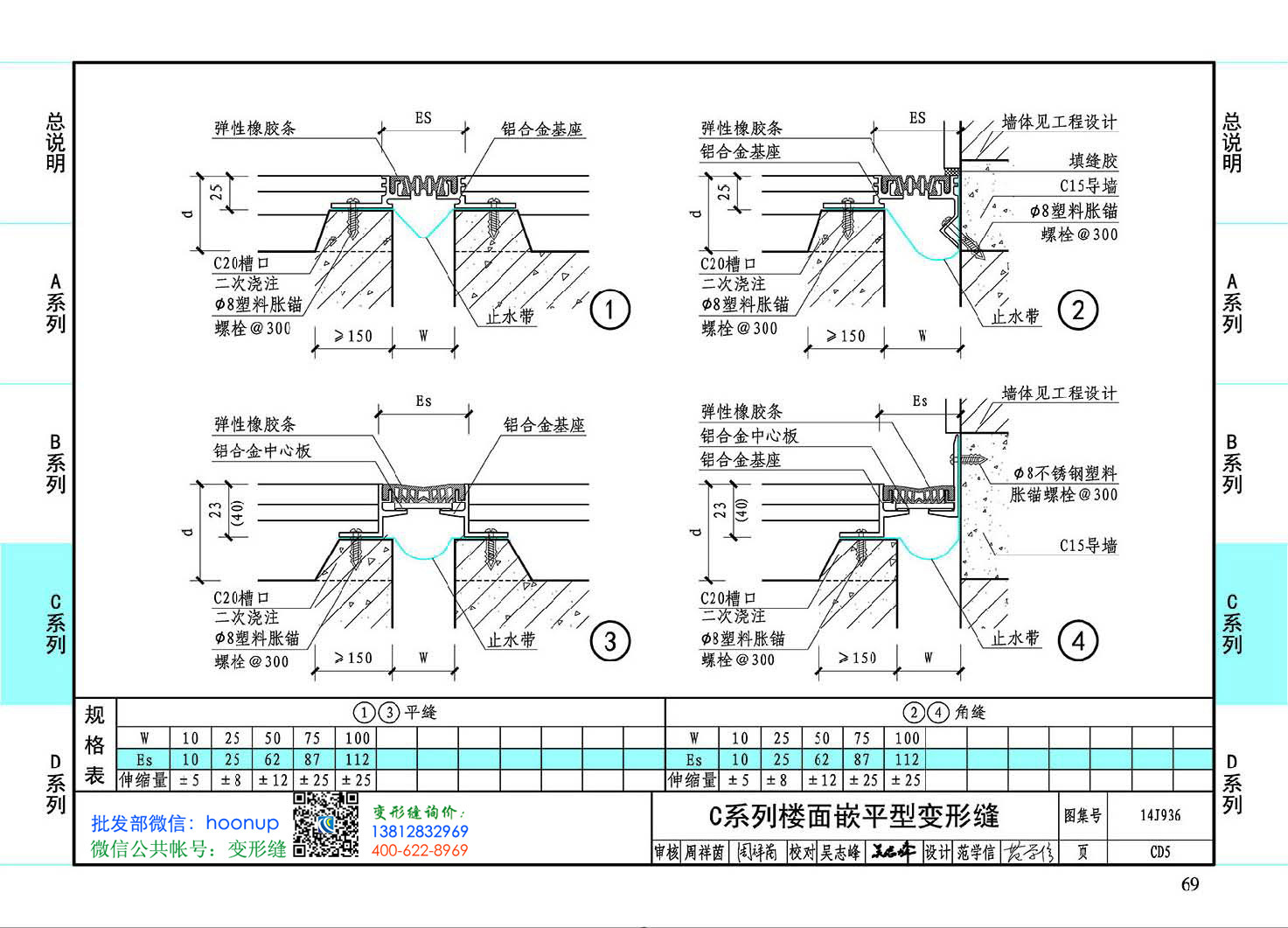 图集14J936CD5-C系列楼面嵌平型变形缝