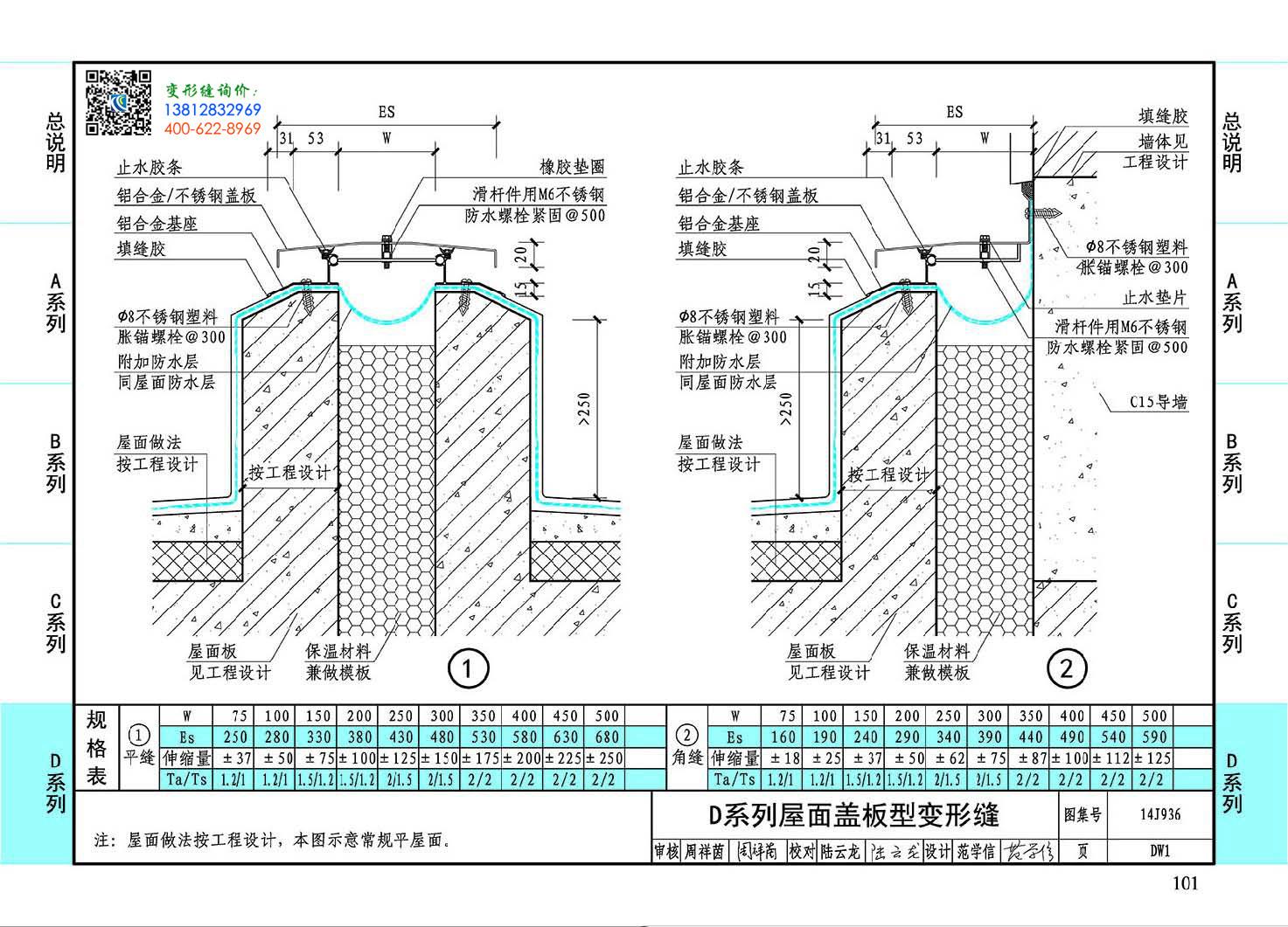 变形缝图集14J936DW1-D系列屋面盖板型变形缝