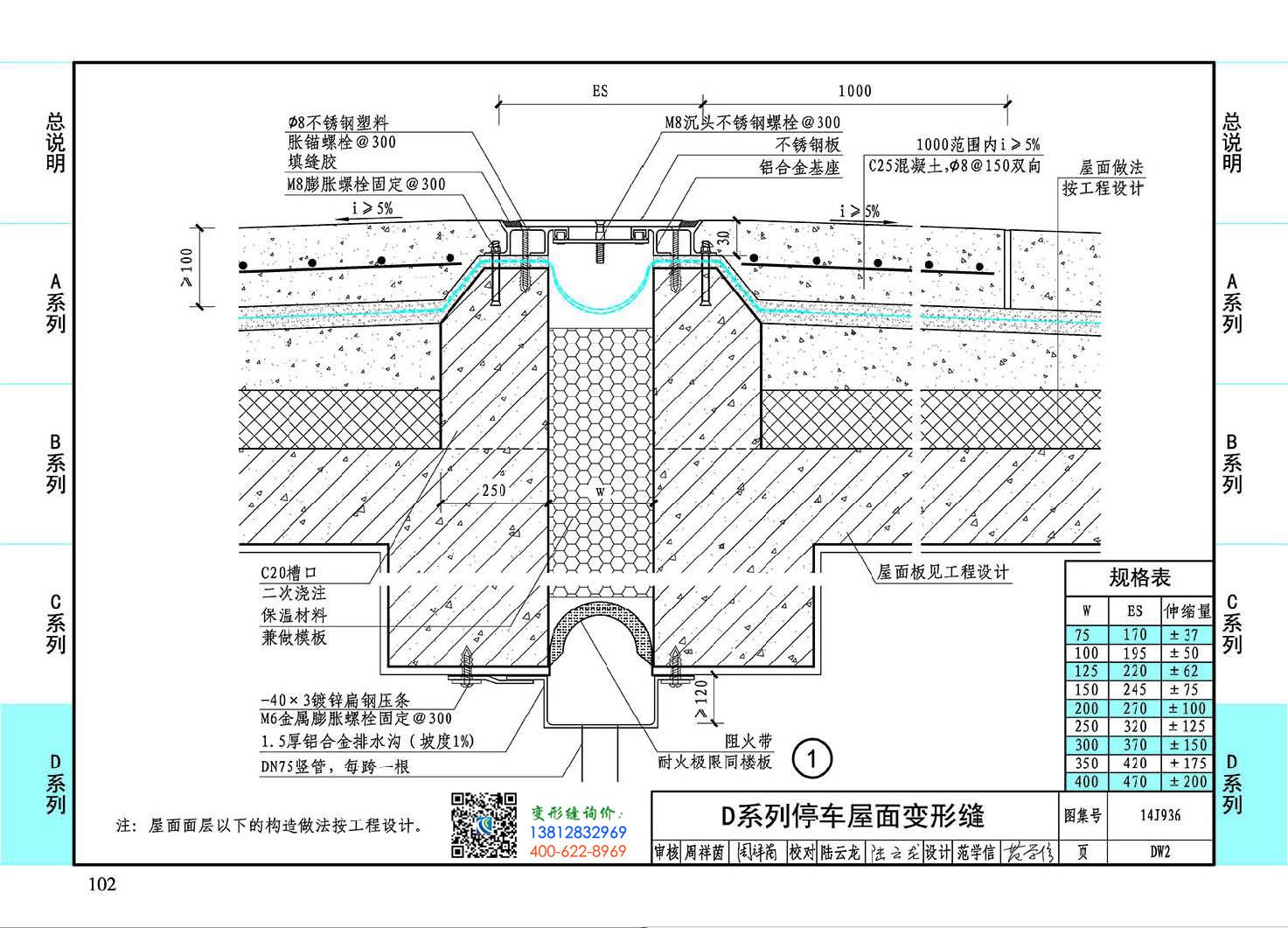 屋面变形缝做法14j936图集DW2