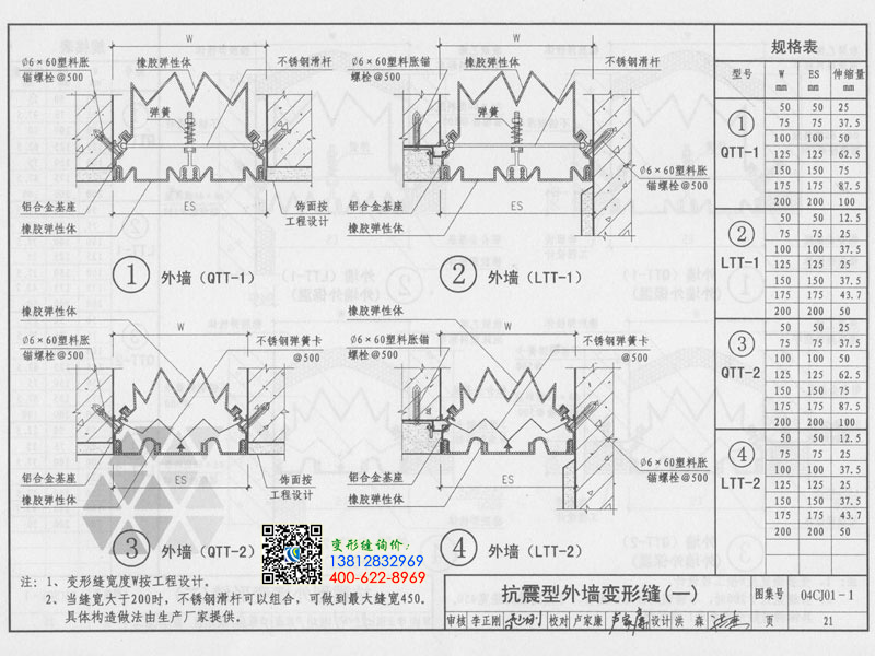 04cj01一1变形缝图集21页-抗震型外墙变形缝