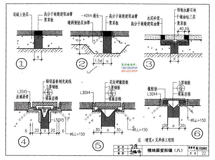 皖2003J903变形缝建筑构造第22页:楼地面变形缝(八)
