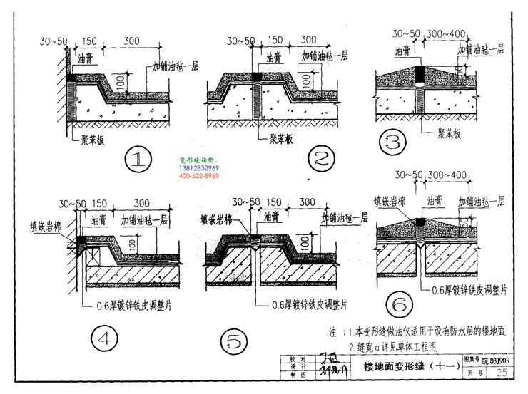 皖2003J903变形缝建筑构造第25页:楼地面变形缝(十一)