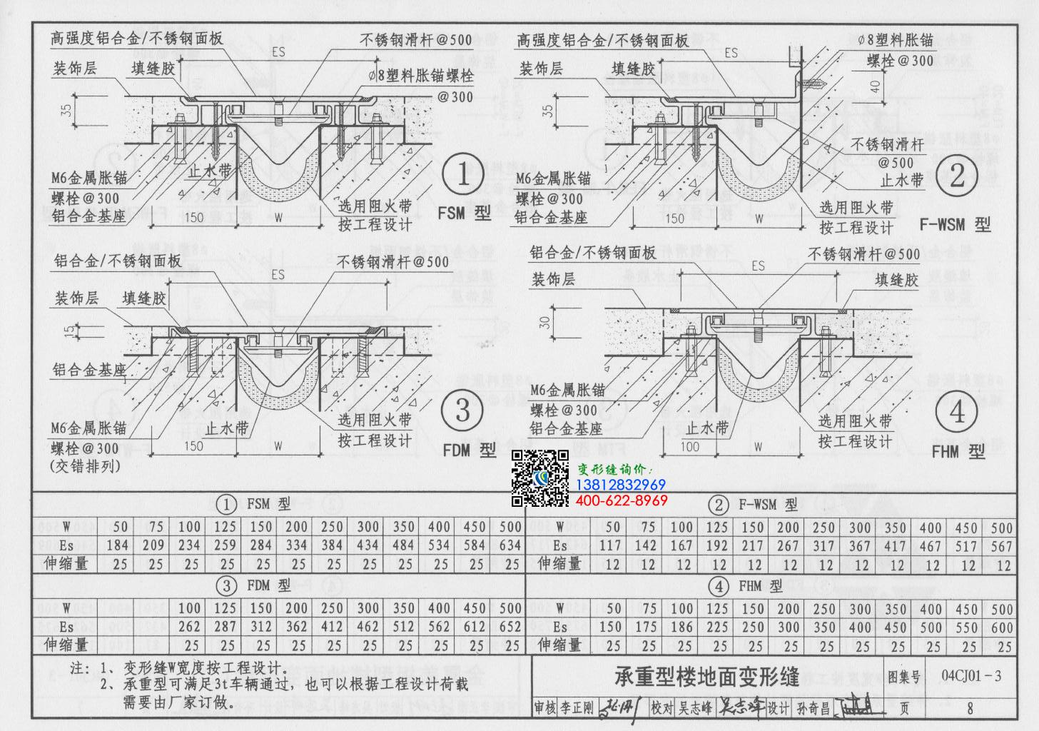 伸缩缝图集04cj01-3第8页:金属盖板型楼地面变形缝(二)