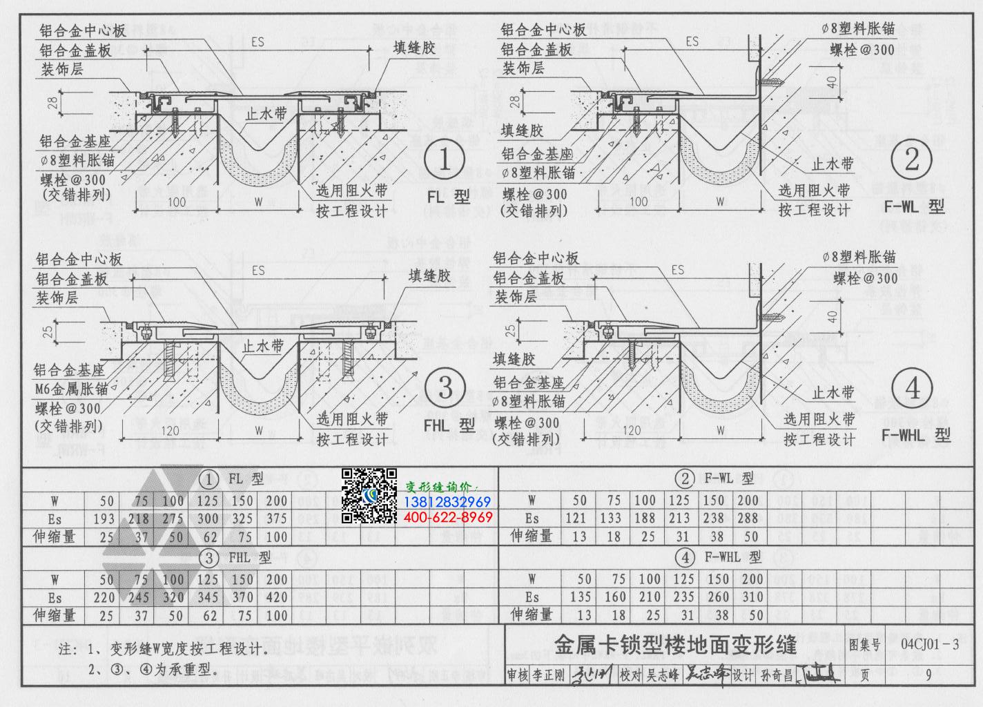 变形缝图集04cj01-3第9页:金属卡锁型楼地面变形缝
