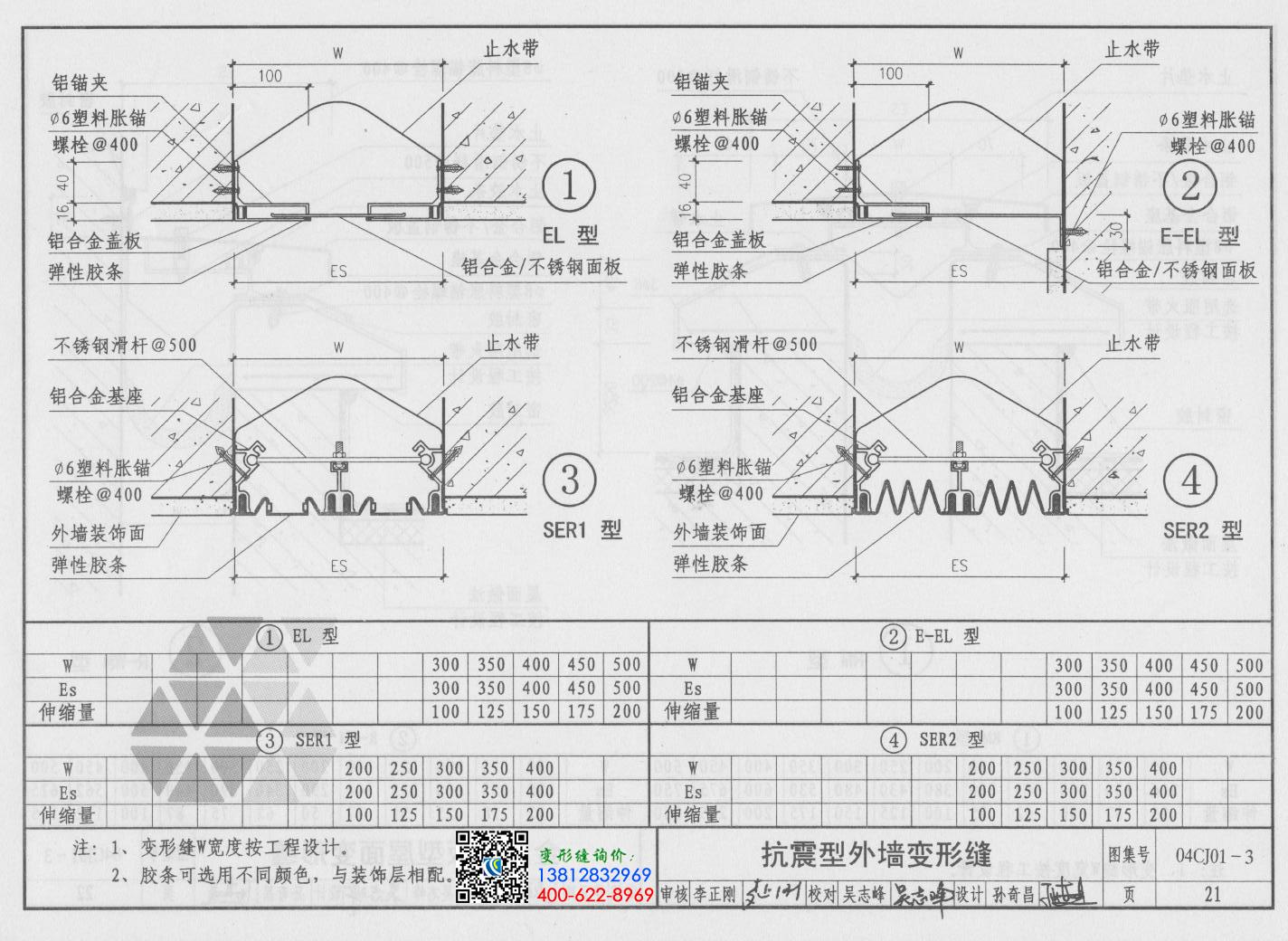 变形缝图集04cj01-3第21页:抗震型外墙变形缝